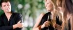 guy 2 women with wine